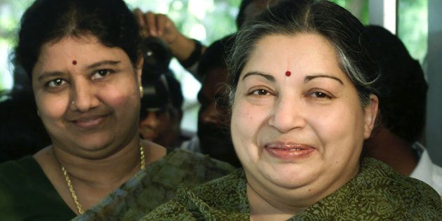 J Jayalalithaa and Sasikala Natarajan in a file