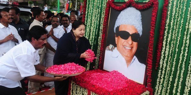 J Jayalalithaa pays tritube to MG