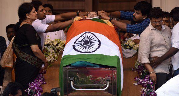 Coffin of Tamil Nadu Chief Minister Jayalalithaa Jayaram at Rajaji Hall in Chennai on December 6,