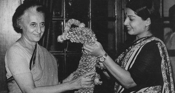 AIADMK leader Jayalalithaa, the newly elected Rajya Sabha Member, with the Prime Minister Indira Gandhi...