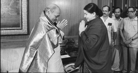 J Jayalalithaa with Prime Minister Narasimha Rao on July 16, 1991 in New Delhi,