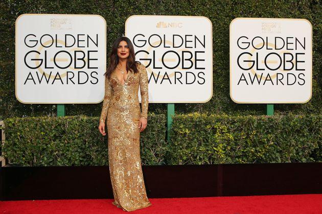Priyanka Chopra Sparkles In A Ralph Lauren Gown At Her First Golden Globes