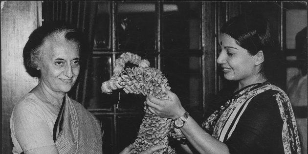 (File Photo) AIADMK Leader Jayalalithaa with the then Prime Minister Indira