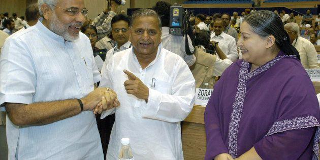 Narendra Modi (L), Mulayam Singh Yadav (C) and Jayalalitha (R) in