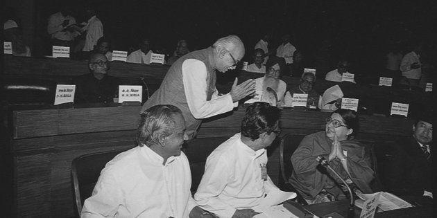 NEW DELHI, INDIA NOVEMBER 2, 1991: (File Photo) Tamil Nadu Chief Minister J Jayalalithaa with BJP Leader...