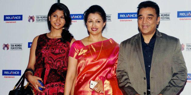 Kamal Haasan (R), with actress Gautami (C) and her daughter