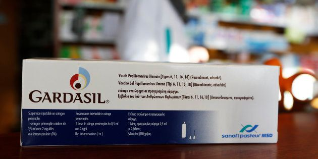 An illustration picture shows a Gardasil anti-cervical cancer vaccine box displayed at a pharmacy.