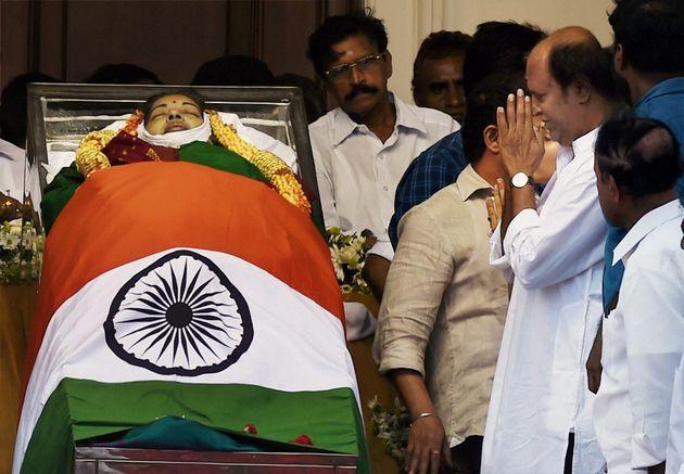 Chennai: Actor Rajinikanth paying his last respects to AIADMK Supremo J Jayalalithaa, at Rajaji Hall...