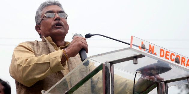 Dilip Ghosh addressing the crowd during the mega rally organized by Uthan Diwas Bengal BJP from College...