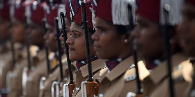 Indian police women take part in a rehearsal for Independence Day celebrations in Chennai on August 12,...
