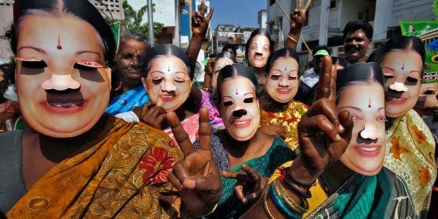 Supporters of J. Jayalalithaa, chief minister of India's Tamil Nadu state and chief of Anna Dravida Munetra...