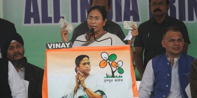 West Bengal chief minister Mamata Banerjee addressing to the gathering during protest over demonetization...