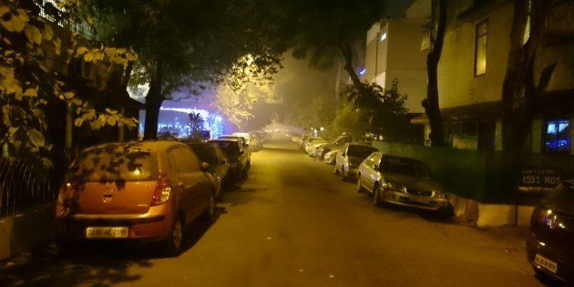 A late night shot on Diwali of air pollution in Delhi at near fatal