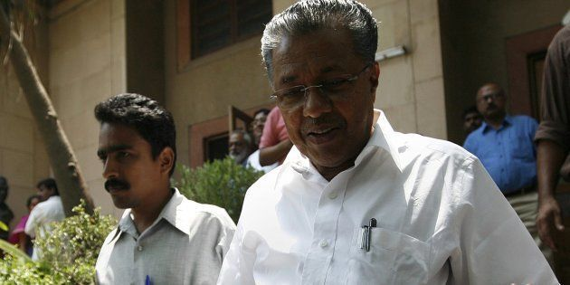 CPI(M) leader Pinarayi Vijayan arrives to attend the CPI(M) Politburo
