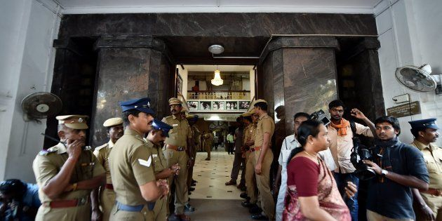 Police Personnel stands at one of the main entrance of Tamil Nadu