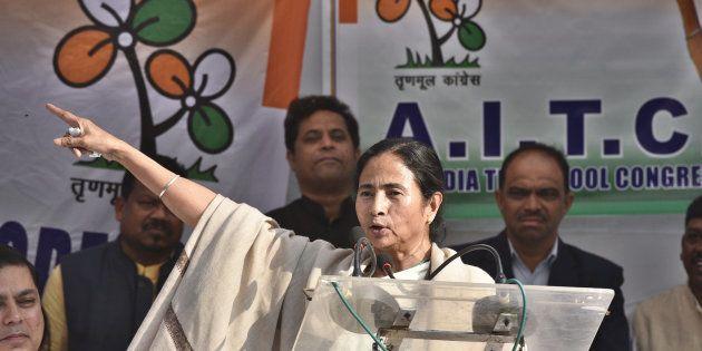 NEW DELHI, INDIA - NOVEMBER 23: TMC leader Mamata Banerjee addresses during the dharna against demonetization...