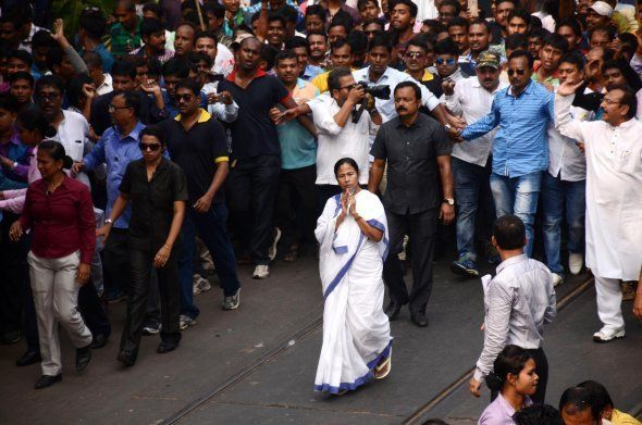 West Bengal Chief Minister and Trinamool Congress party supremo Mamata Banerjee (Center) during the protest...