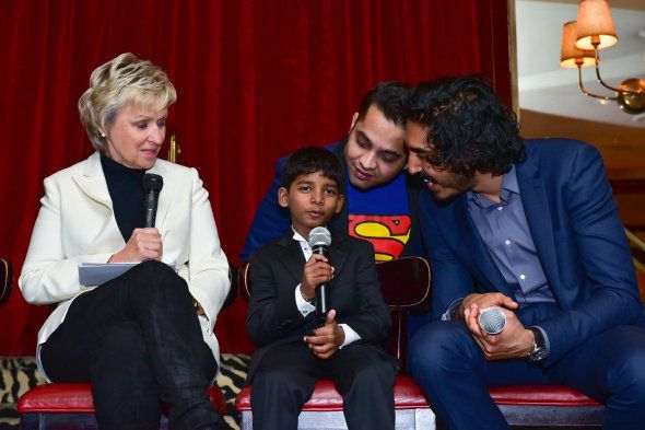 (L-R) Tina Brown, Sunny Pawar and Dev Patel attend Caryl M. Stern & The U.S. Fund for