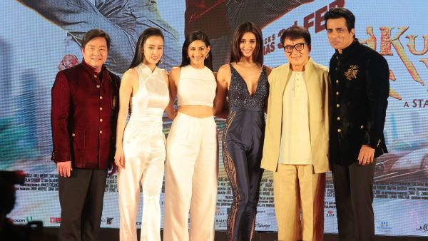 Jackie Chan and Sonu Sood with the Kung Fu Yoga team, Disha Patani, Amyra Dastur, Zhang Yixing and director Stanley Tong.