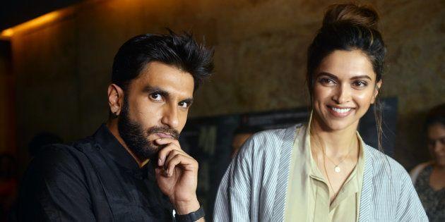 MUMBAI, INDIA JULY 21: Deepika Padukone and Ranveer Singh during the screening of film Madaari in Mumbai.(Photo...