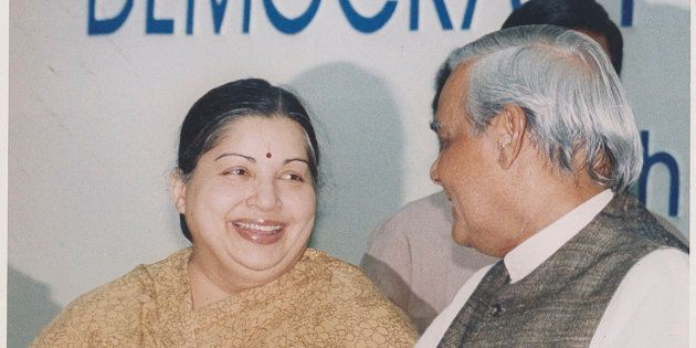 NEW DELHI, INDIA JANURAY 30, 1999: (File Photo) Prime Minister Atal Bihari Vajpayee with AIADMK Leader...