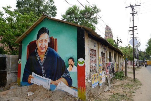 Mural illustrating Jayalalithaa, Indian politician who has been Chief Minister of Tamil Nadu since