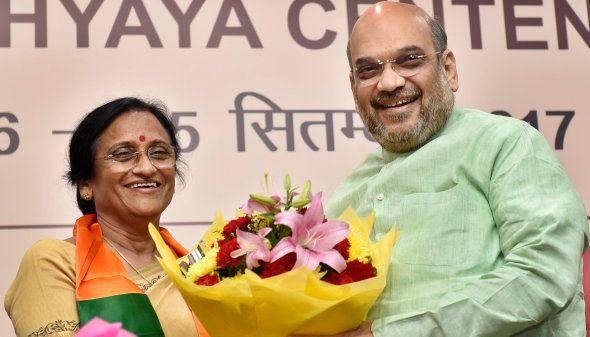 Former Uttar Pradesh Congress Chief Rita Bahuguna Joshi welcomed by BJP President Amit