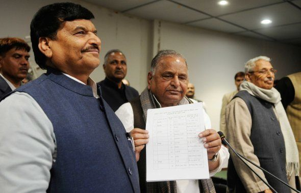 LUCKNOW, INDIA - DECEMBER 28: SP chief Mulayam Singh Showing list of 325 candidate they will be the face...