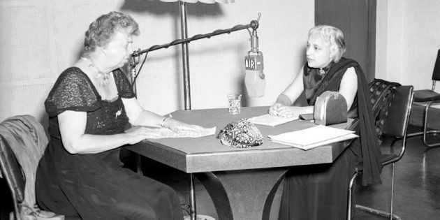 All-India Radio Question Hour being conducted by Mrs. Eleanor Roosevelt and Shrimati Vijayalakshmi at...