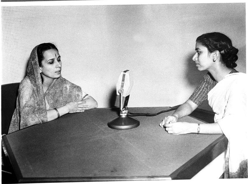 Photo Shows film star Vanmala being interviewed in a radio broadcast by AIR, February,