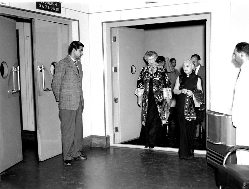 Mrs. Eleanor Roosevelt with Shrimati Vijayalakshmi at the All India Radio Station New Delhi, which she...