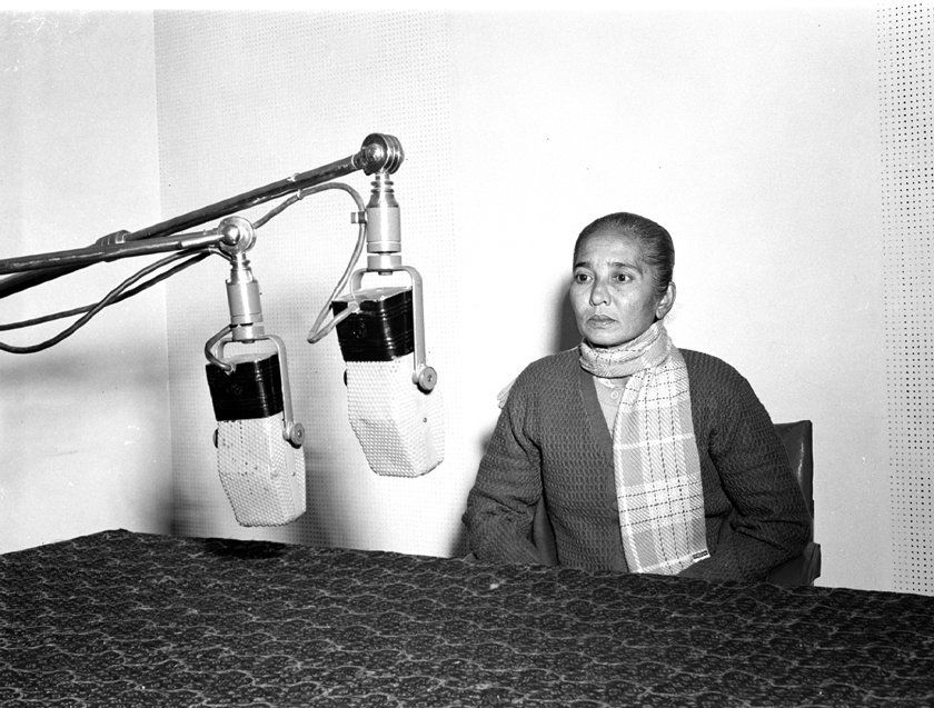 Rani Lakshmi of Nankor (Andaman Islands) recording her message on occasion of visit of Tribal Chiefs,...