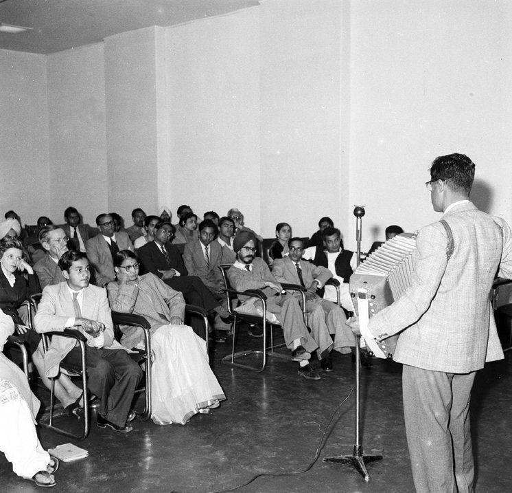 A special feature being recorded at the All India Radio, New Delhi on February 10, 1958, in connection...