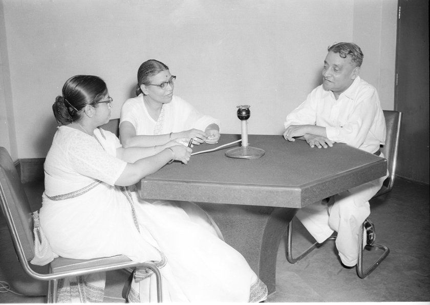 A talk in Hindi being recorded at the All India Radio, New Delhi on August 13,