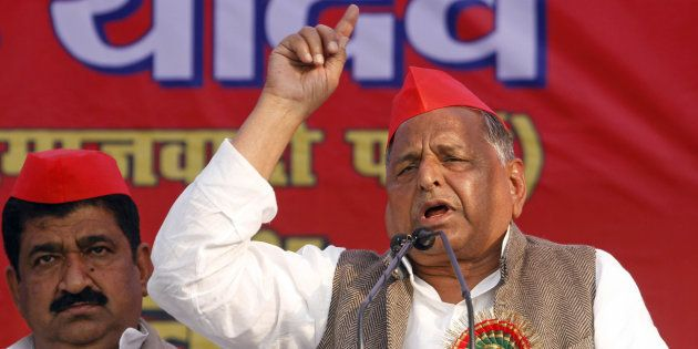 Samajwadi Party leader Mulayam Singh Yadav addresses an election rally in