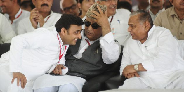 Uttar Pradesh Chief Minister Akhilesh Yadav, Minister Azam Khan and SP national president Mulayam Singh