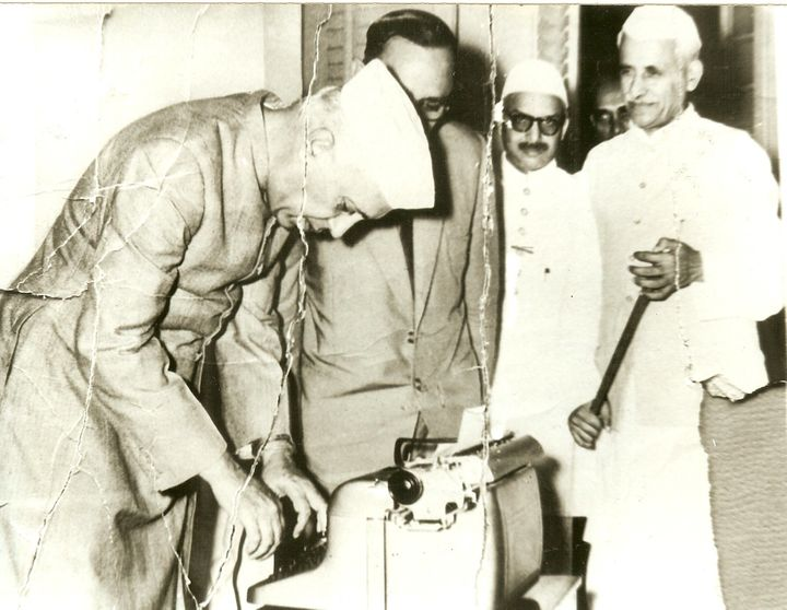 Jawaharlal Nehru typing on a Godrej typewriter at the Avadi session of the Indian National Congress in 1955.