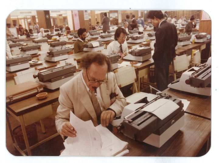 Journalists in the media room a the Seventh Non-Aligned Movement Summit in Delhi in 1983.