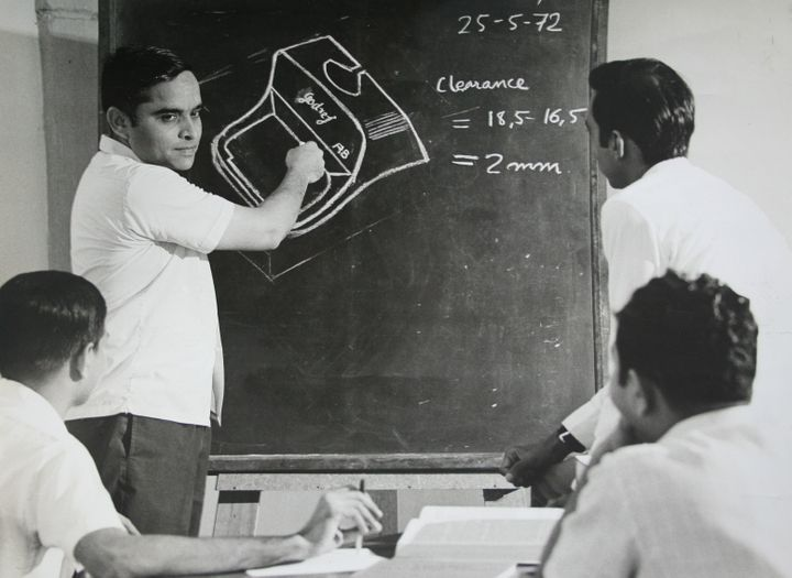 The design team at Godrej during a training session in 1972.