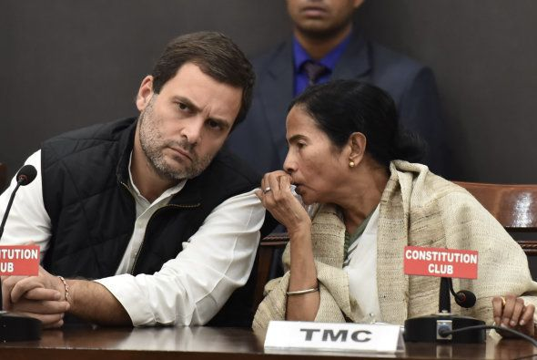 Congress Vice President Rahul Gandhi and West Bengal Chief Minister Mamata Banerjee with other opposition...