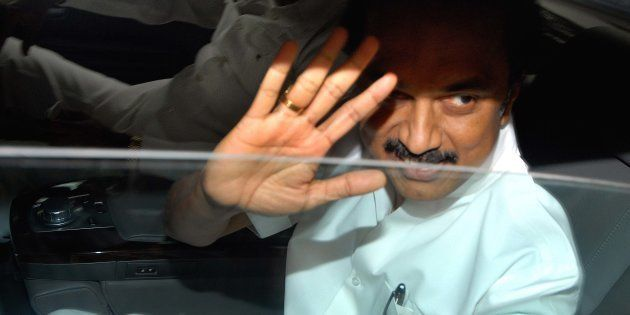 Dravida Munnettra Kazhagam leader M.K. Stalin departs after meeting with the UPA chairperson Sonia Gandhi at her residence on June 2012 in New Delhi, India.