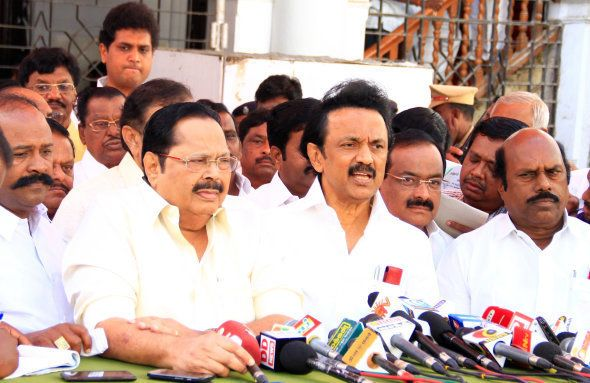 DMK leader MK stalin breifing the media after the party MLA's staged a walk out from the Tamil Nadu assembly