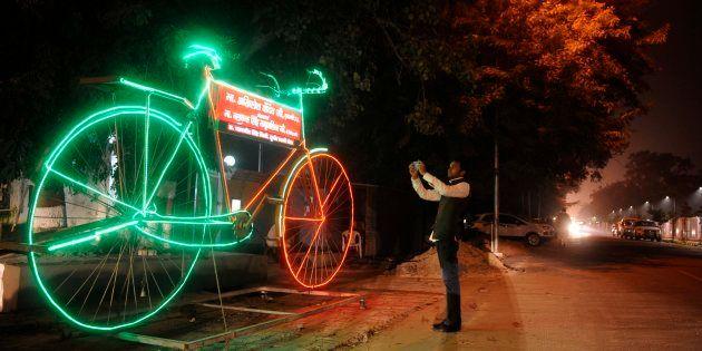 Giant model of Samajwadi Party symbol 'Bicycle' with LED