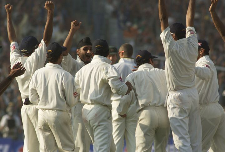 11 Mar 2001:  Harbhajan Singh of India celebrates with team mates after claiming the  wicket of Shane Warne of Australia, to complete a hat trick, during day one of the 2nd Test between India and Australia played at Eden Gardens, Calcutta, India. X DIGITAL IMAGE  Mandatory Credit: Hamish Blair/ALLSPORT