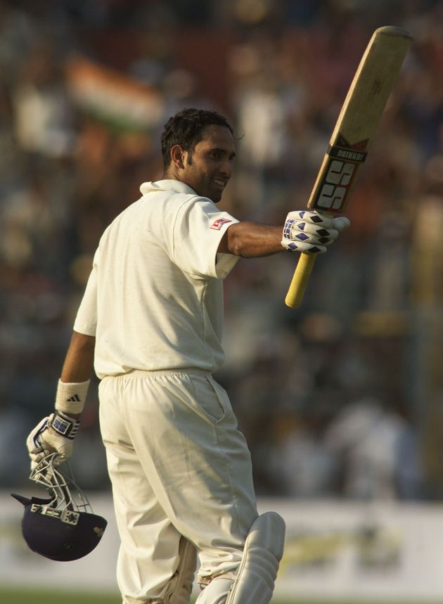13 Mar 2001: VVS Laxman of India reaches 100, during day three of the 2nd Test between India and Australia...