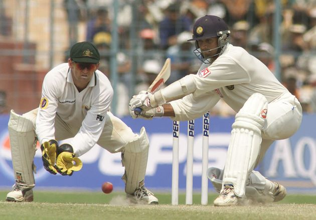 14 Mar 2001: Rahul Dravid of India hits out, during day four of the 2nd Test between India and Australia...