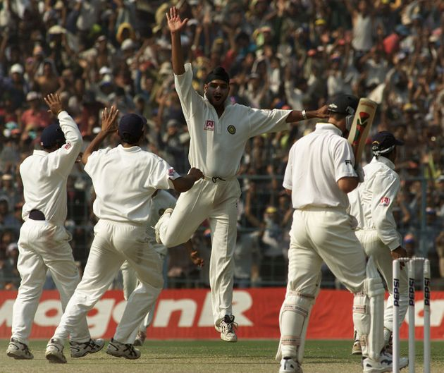 15 Mar 2001: Harbhajan Singh of India claims the wicket of Ricky Ponting of Australia, during day five...