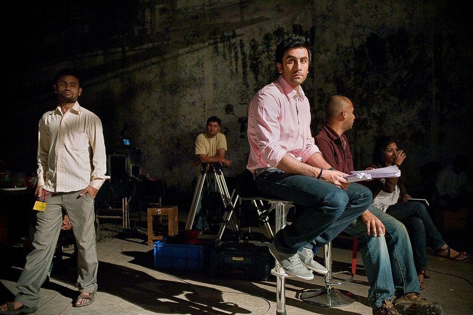 Ranbir Kapoor during a commercial shoot at YRF studios in