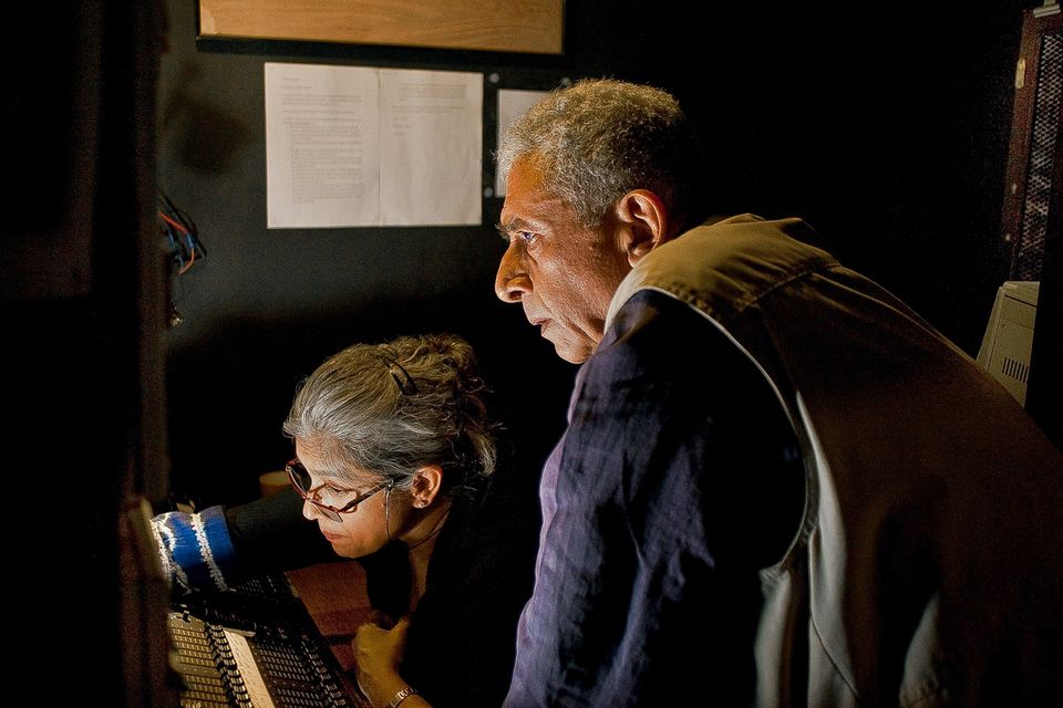 Naseeruddin Shah and Ratna Pathak Shah in lighting booth during rehearsal at Prithvi