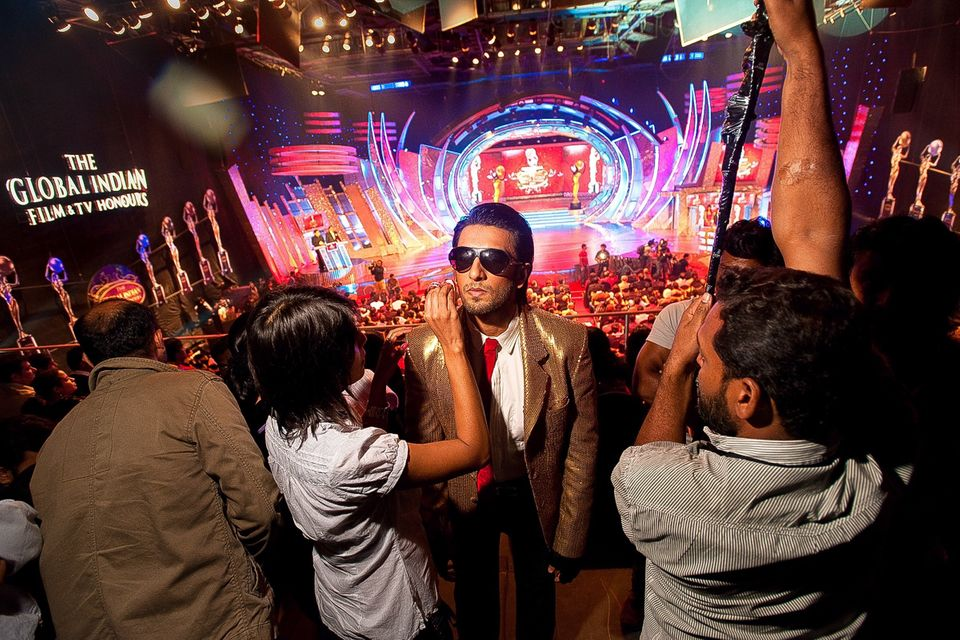 Ranveer Singh before flying on stage from a harness at the 2011 Global Indian Film and TV